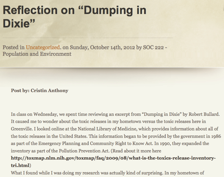 "Click to open: Cristin Anthony's contribution to the ""Population and Environment"" class blog. Cristin's link to the EPA's Toxics Release Inventory, to search pollution sources in any part of the country, was later utilized by a student in Hagood's class in a presentation about environmental justice concerns near Hendrix College."
