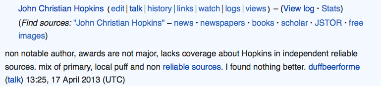 """Click to open full version: Excerpt from """"Talk"""" page on John Christian Hopkins entry in Wikipedia, 2013."""