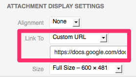 To send readers from the image to the original website, insert a custom URL.