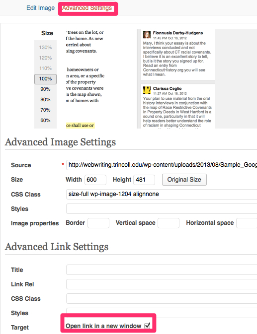 """Click """"Advanced Settings"""" tab and check box to open target link in a new window."""