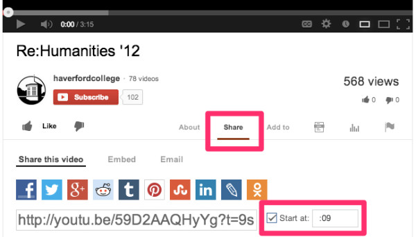 """Illustration of the """"Share"""" and """"Start time"""" features in YouTube."""