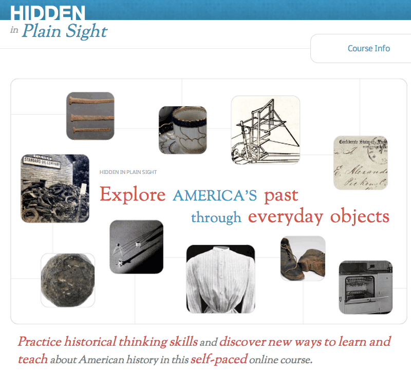 "Click to open: ""Hidden in Plain Sight"" course website, Roy Rosenzweig Center for History and New Media."