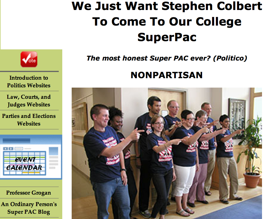 "Click to open: The ""We Just Want Stephen Colbert to Come to Our College SuperPAC"" course site."