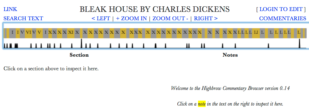"Click to open: Annotation of ""Bleak House"" by Charles Dickens on HighBrow, created by Jason B. Jones."