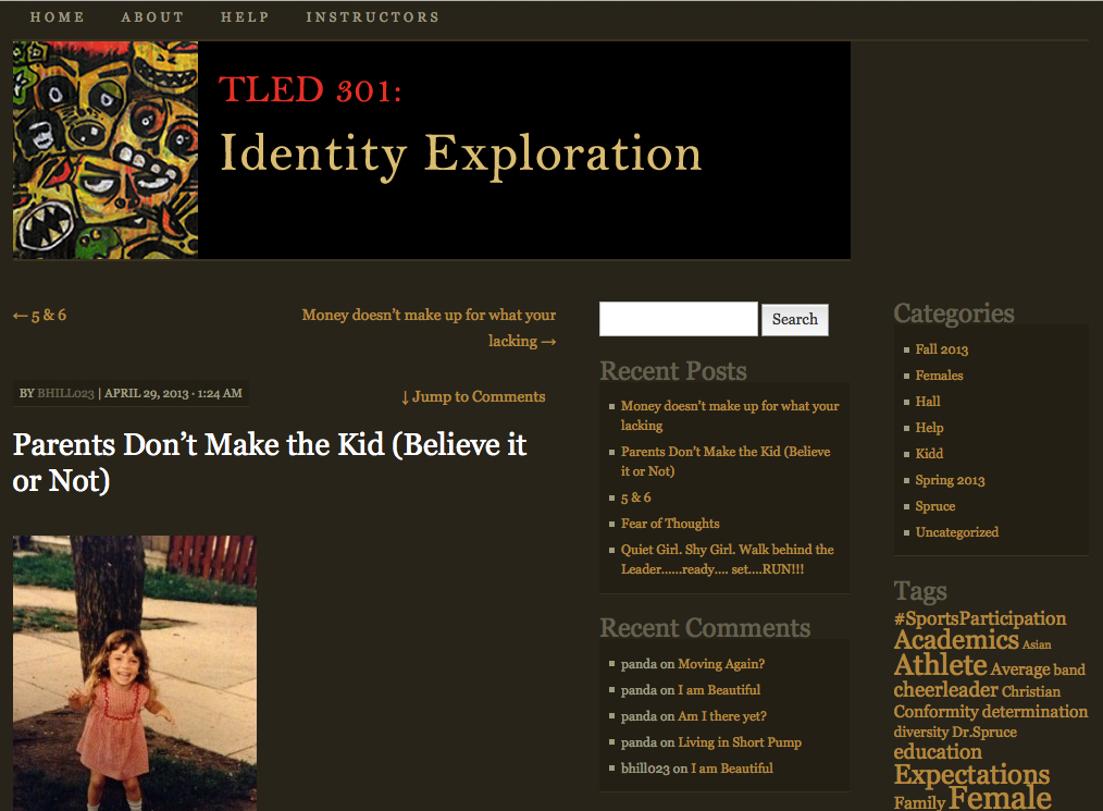Click to open: The Identity Exploration course site.