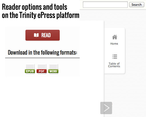 Reader options and tools on the Trinity ePress platform.