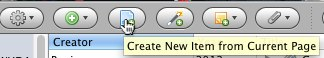 Create a new item in Zotero Firefox