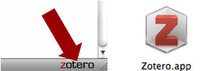 Zotero for Firefox (left) and Zotero Standalone icon (right)