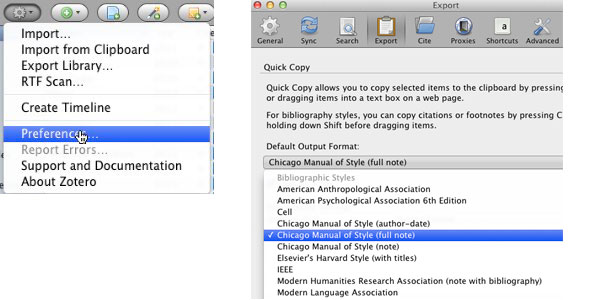 Select your Zotero Preferences to Export Citations
