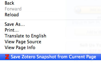 In Zotero Standalone, right-click to save current page