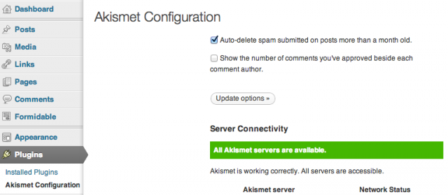 WordPress Akismet settings