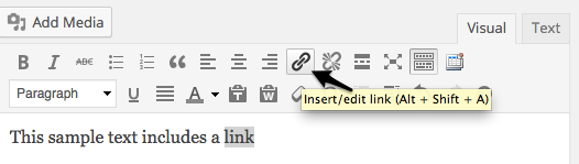 "Select text and click the ""link"" button."