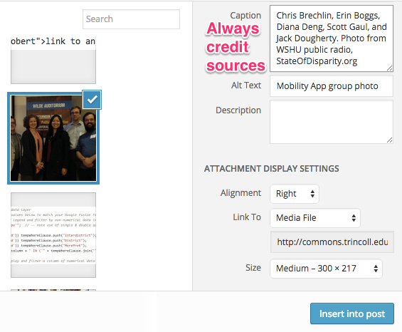 Credit all sources in the Insert Media pop-up window.