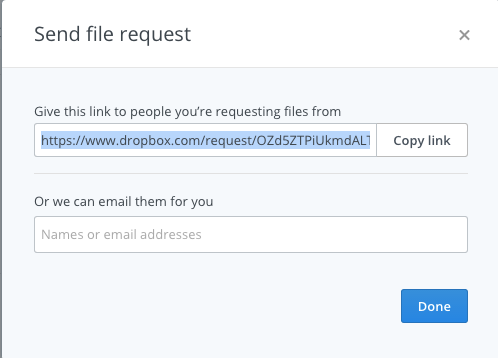 Copy the link to the Dropbox File Request
