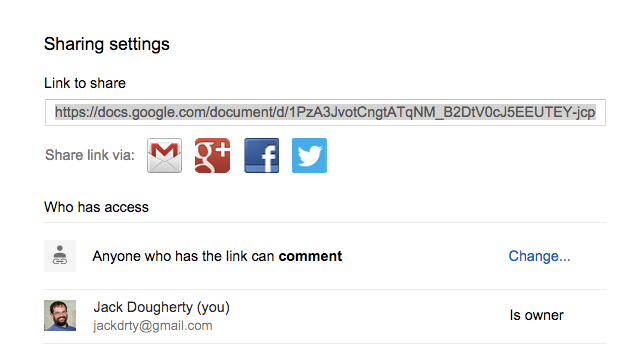 Copy the long link to share your Google Document with others.