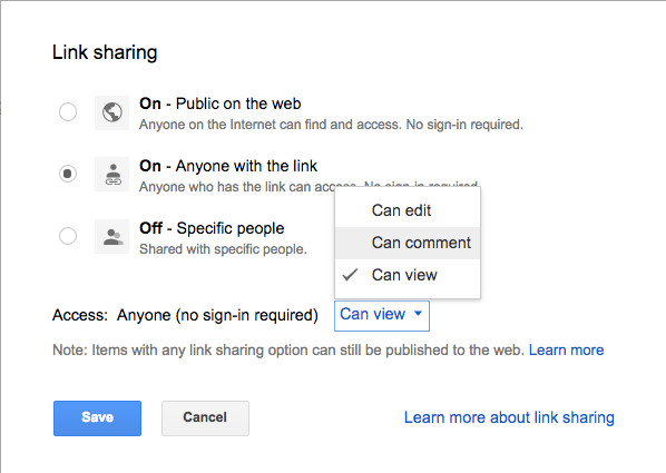 "Click the Share button and ""Advanced"" for Link Sharing."