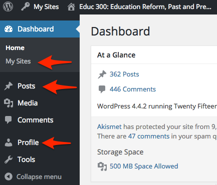 Three key features of the WordPress Dashboard